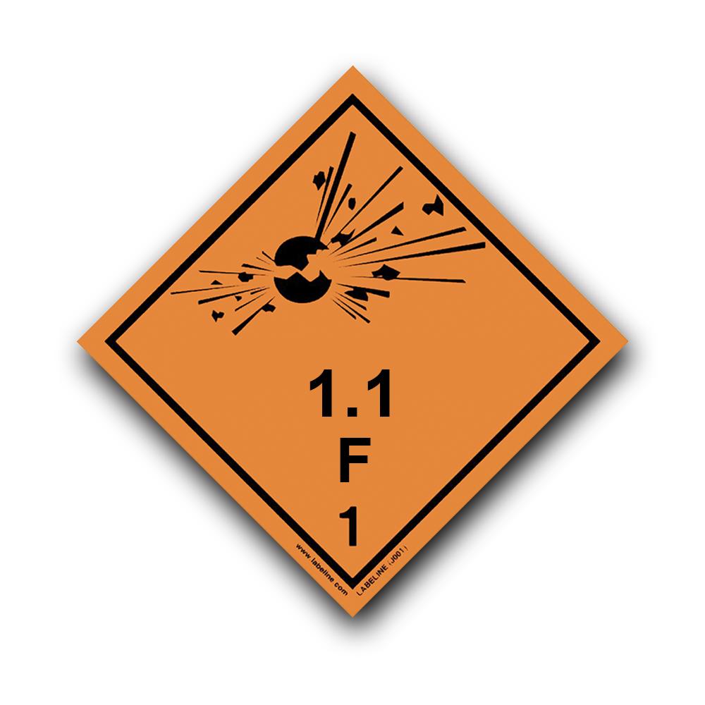 Dimension D Un Placard Standard class 1 explosive 1.1f hazard warning diamond placard - code j001f/pl
