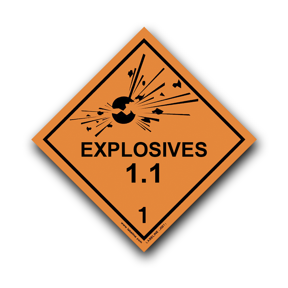 class 1 explosive 1 1 hazard warning diamond label code j001 1 1