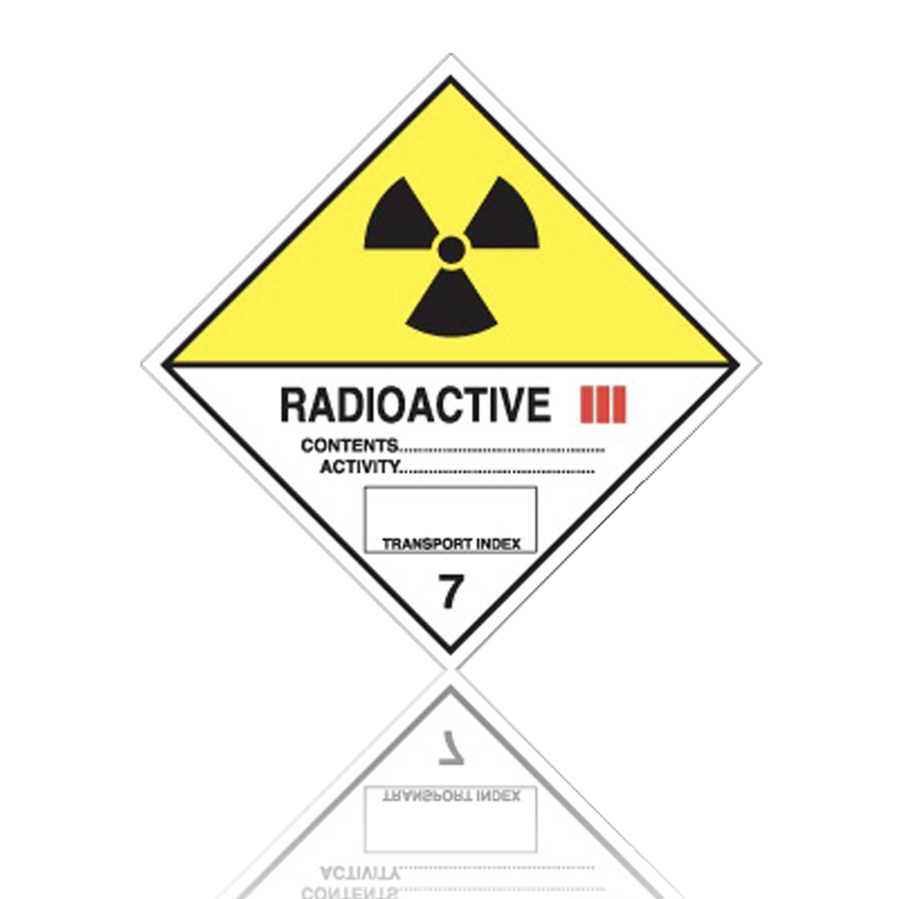 Dimension D Un Placard Standard class 7 radioactive iii hazard warning diamond placard - code p027/pl