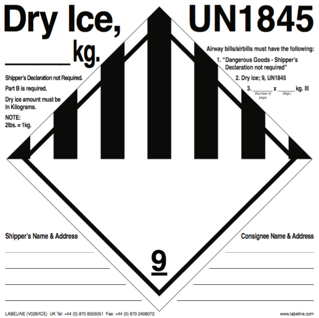 Class 9 Dry Ice Un1845 Label Code V029ice