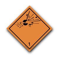 Class 1 Explosive 1 Hazard Warning Diamond Label