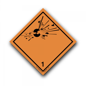 Class 1 Explosive 1 Hazard Warning Diamond Label