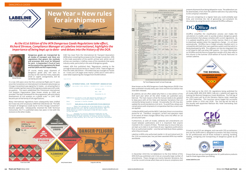 IATA's 61st DG Regulations - Truck and Track Winter 2019
