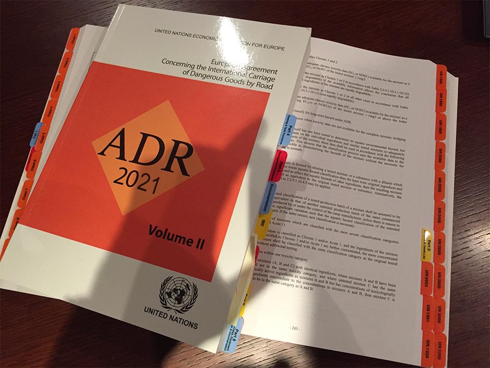 Bespoke Tabs, UNADR 2021, ADR 2021, Dangerous Goods by Road