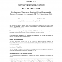 The Carriage of Dangerous Goods and Use of Transportable Pressure Equipment (Amendment) (EU Exit) Regulations 2020 - SI1111